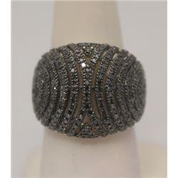 Elegant Black Diamonds Silver Ring