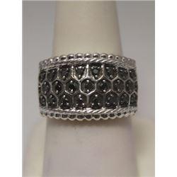 Elegant Black & White Diamonds Silver Ring