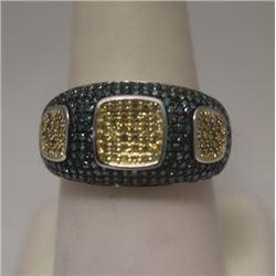 Fancy Blue & White Diamonds Silver Ring