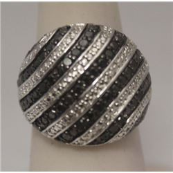 Stunning Black Diamonds Silver Ring