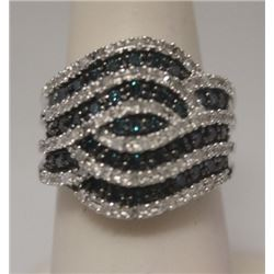 Exquisite Blue & White Diamonds Silver Ring