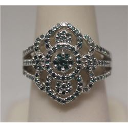 Very Fancy Blue Diamonds Silver Ring