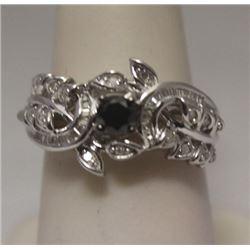 Fine Black, White, & Baguette Diamonds Silver Cape Ring