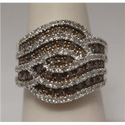 Very Fancy Champagne & White Diamonds Silver Ring