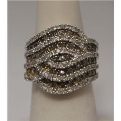 Stunning Champagne & White Diamonds Silver Ring
