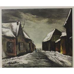 Allainville Under snow - Lithograph -  Maurice de Vlaminck