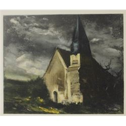 Church at Saint-lupin - de Cravant - Lithograph  -  Maurice de Vlaminck