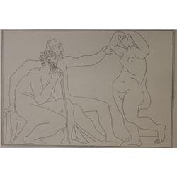 Two Sculptors repair a statue Lithograph