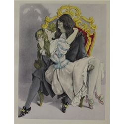 The Throne with a girl - Lithograph -  Legrand