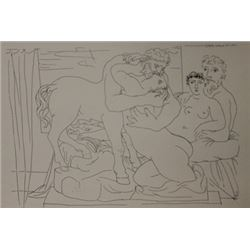 Sculptor and centaur lithograph  -  Picasso