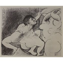 Man Unvieling Women lithograph -  Picasso