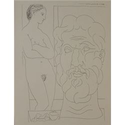Model and Sculptred head lithograph -  Picasso
