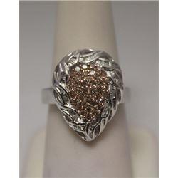 Lavish Pear Shape Champagne & White Diamonds Silver Ring