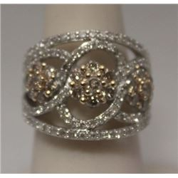 Fancy Champagne & White Diamonds Silver Ring