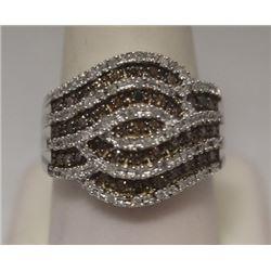 Exquisite Champagne & White Diamonds Silver Ring