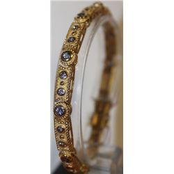 Stylish Gold over Silver Tanzanite Bracelet