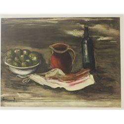 Still life with Bacon - Lithograph  -  Maurice de Vlaminck