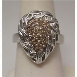 Gorgeous Pear Shape Champagne & Baguette Diamonds Silver Ring