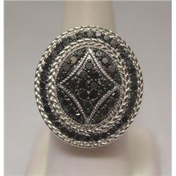 Fancy Black Diamonds Silver Ring