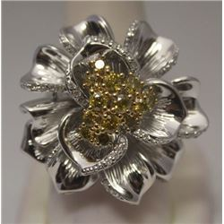 Gorgeous Flower Yellow & White Diamonds Silver Ring