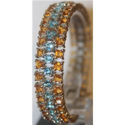 Fancy Blue Topaz and Sapphire Bracelet