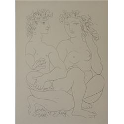 Nude and tambourine Playor - Litho -  Picasso