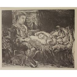 Boy waiting over sleeping women - Lithograph  -  Picasso