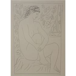Nude seated beore a curtain lithograph -  Picasso