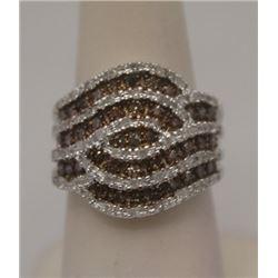 Dazzling Champagne & White Diamonds Silver Ring
