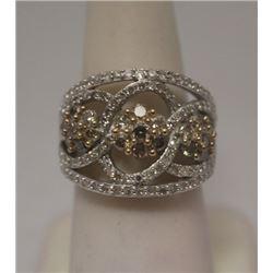 Beautiful Champagne & White Diamonds Silver Cape Ring