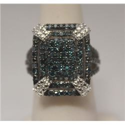 Fancy Blue Diamonds  Silver Ring