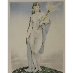Nude Holding torch Lithograph -  Legrand