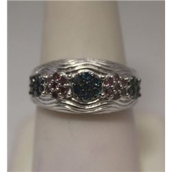 Very Fancy Red & Blue Diamonds Silver Ring