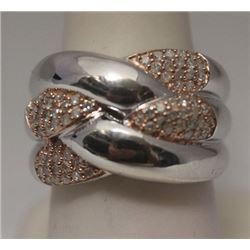 Fine 14kt Rose Gold over Silver White Diamonds Ring