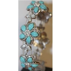 Stylish Sapphire and Turquoise Bracelet