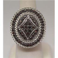 Fine Red & White Diamonds Silver Ring