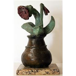 Flower Pot - Patina Bronze Sculpture - Pablo Picasso