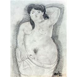 Woman Nude - Drawing on Paper - F. Botero
