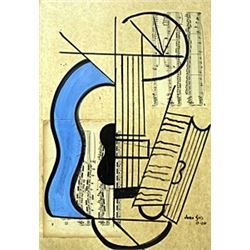 The Guitar VII-Collage on paper - Juan Gris