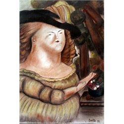 Senora Rodriguez - Pastel Drawing - F. Botero