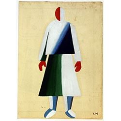 Woman - Oil on Paper - K. Malevich