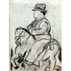 El Jinete - Graphite on Paper - Fernando Botero '92