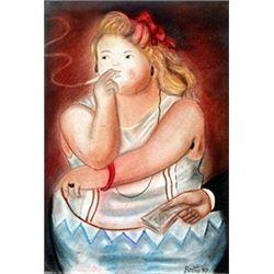 La Prostituta - Pastel Drawing - Fernando Botero