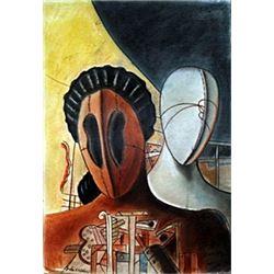 The Gladiators - Pastel on Paper - Giorgio De Chirico
