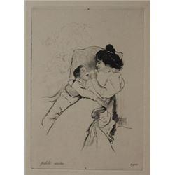Petite Mere - lithograph  -  Unknown Arist