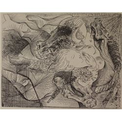 Bull hourse and women - Lithograph  -  picasso