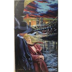 Romanoce on New York bay - Lithograph on canvacas  V Ostrevsky