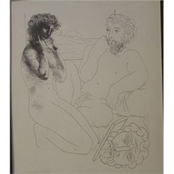 Sculptor and model overturned scyulpture - Lithograph -  Picasso