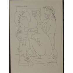 Sculptor with fish bowl - Lithograph -  Picasso