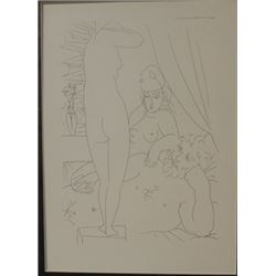 Sculptor model wearing mask - Lithograph -  Picasso
